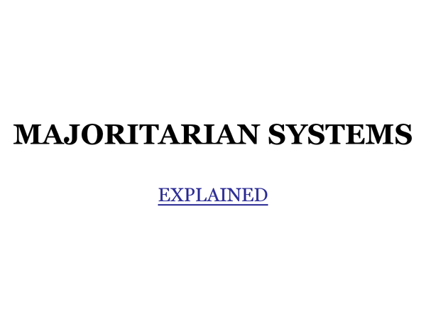 Preview of Majoritarian Systems