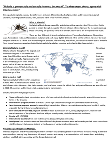 Preview of Malaria Report/Case Study