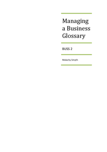 Preview of Managing a Business - Glossary