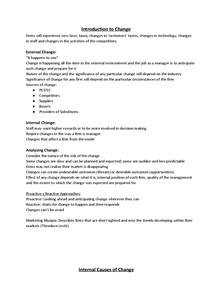 Preview of Managing Change; Unit 4 - Notes