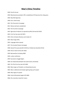 Preview of Mao's China Timeline