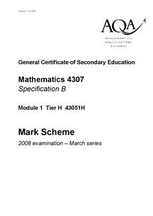Preview of March 2008 AQA maths mark scheme
