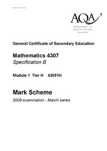 Preview of March 2009 AQA maths mark scheme