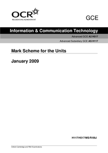 Preview of Mark Scheme for January 2009 ICT Paper
