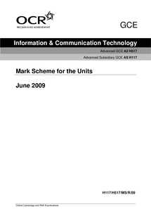 Preview of Mark Scheme May 2009 ICT