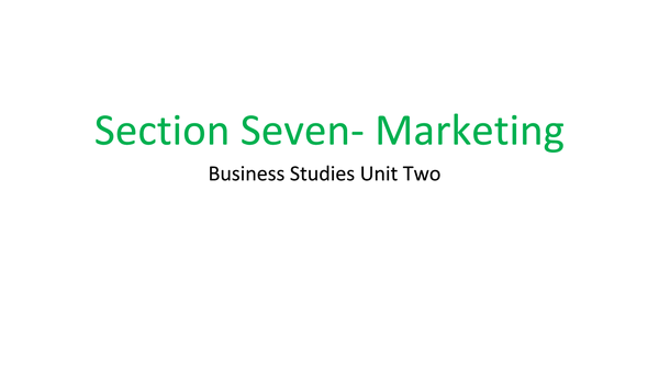 Preview of Marketing 2 (Section 7)