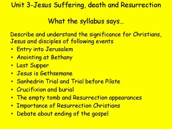Preview of Marks Gospel Topic 3 - Suffering Death & Resurrection