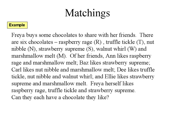 Preview of Matchings: 2 of 2 (Decision Maths)