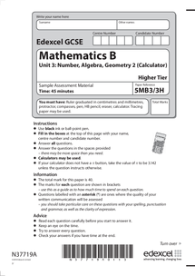 Preview of Mathematics B Modular Unit 3 Sample Past Paper and Mark Scheme