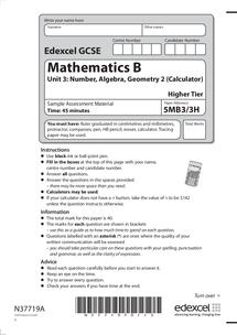 edexcel gcse mathematics unit 3 specimen terminal paper