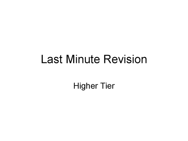 Preview of Mathematics Higher Tier GCSE Revision Guide (ALL TOPICS)