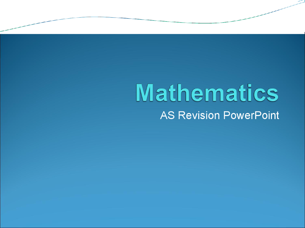 Preview of Maths AQA Core 1 and Core 2 PowerPoint