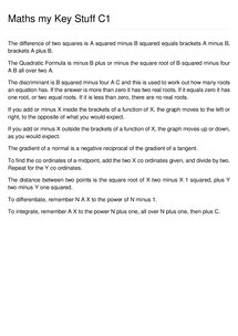 Preview of Maths C1 things to remember