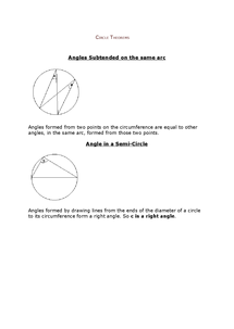 Preview of Maths - Circle Theorems Notes
