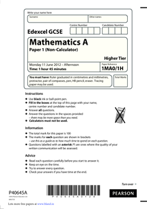 GCSE Maths Edexcel A (Linear) Practice Papers - Higher