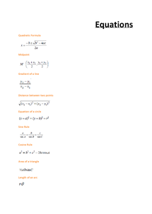 Preview of Maths Equations | C1 &  C2 | Pure Maths