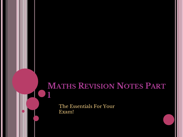 Preview of Maths Revision Notes Part 1 (Numbers)