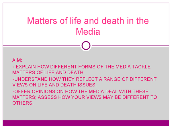 Preview of Matters of life and death in the media