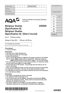 Preview of May 2014 - Past Paper - AQA