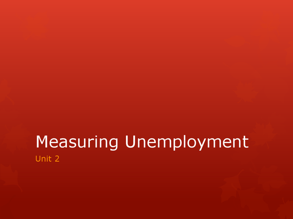 Preview of Measuring Unemployment