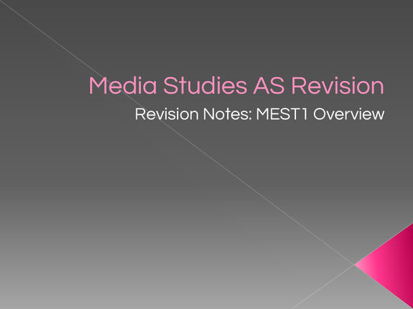 Preview of Media Studies AS level revision