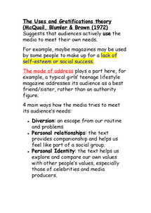Preview of Media Studies Unit 2 - Uses and Gratification