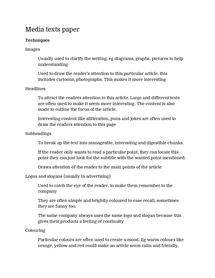 Preview of media texts paper, commentary techniques