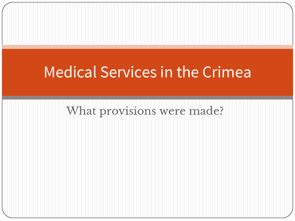 Preview of Medical Services in the Crimean War