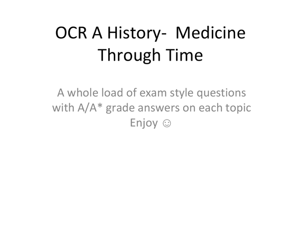 Preview of Medicine Through Time Exam-Style Questions and Answers