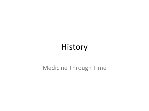 Preview of Medicine Through Time GCSE History