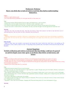 Preview of Medicine Through Time Notes