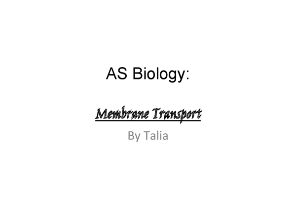 Preview of Membrane transport