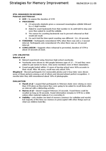 Preview of Memory - AQA (A) PSYA1