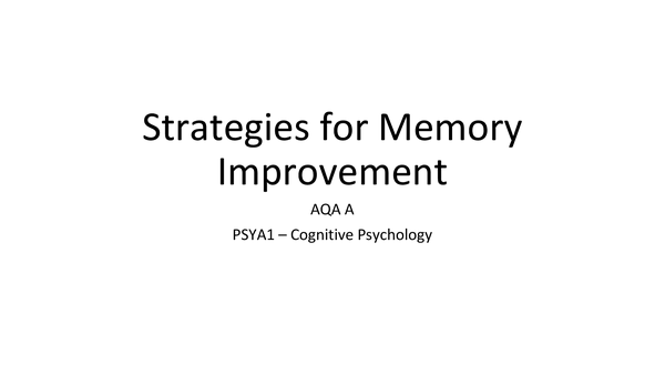 Preview of Memory Improvement Strategies