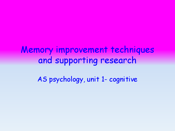 Preview of Memory improvement techniques and supporting research