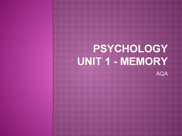 Preview of Memory powerpoint for AS psychology, AQA