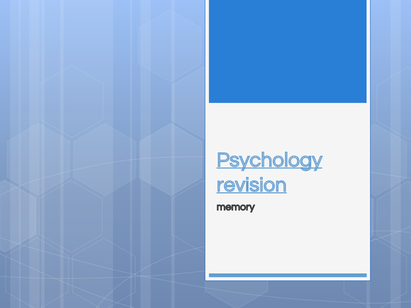 Preview of Memory Unit 1 Psychology Revision powerpoint