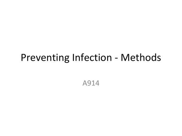 Preview of Methods of Preventing Infection