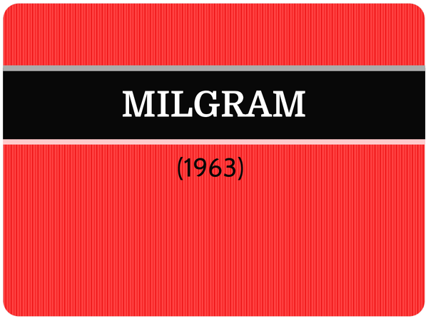 Preview of Milgram (1963) - AS Core Study