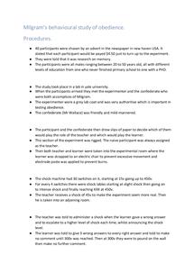 Preview of MILGRAM Procedures PY2 Core studies