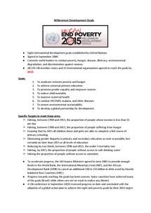 Preview of Millennium Development Goals
