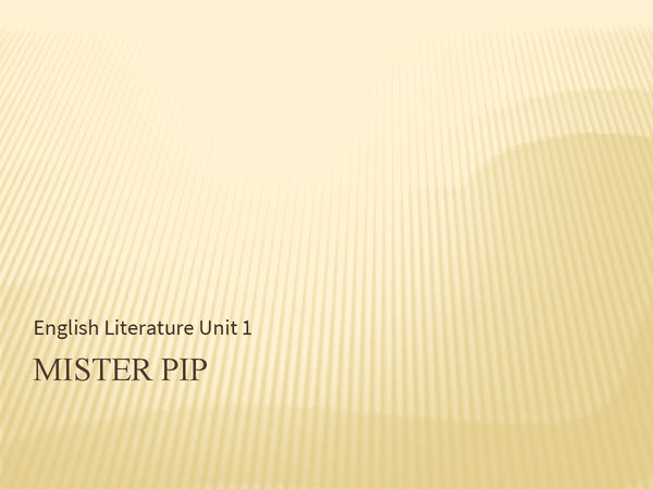 Preview of Mister Pip English Lit