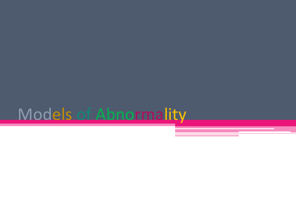 Preview of Models of Abnormality