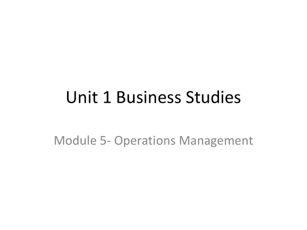 Preview of Module 5- operations management