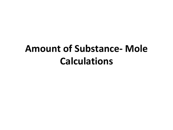 Preview of Mole calculations