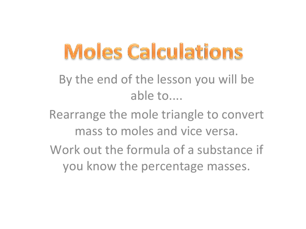 Preview of Moles Calculation