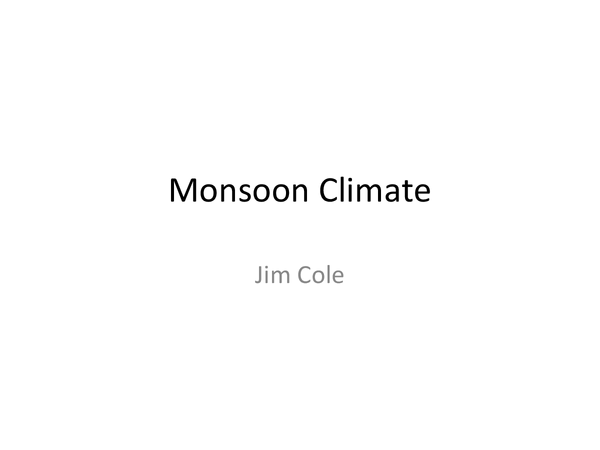Preview of Monsoon Climate