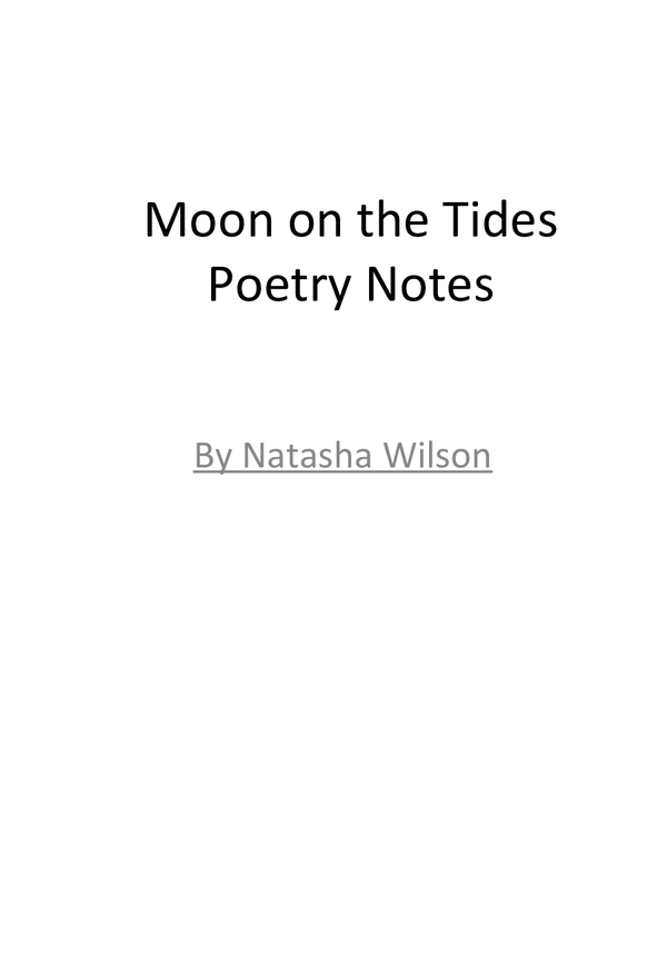 Preview of Moon on the Tides AQA anthology Revision notes