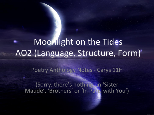 Preview of Moonlight on the Tides Relationships Cluster AO2 Notes