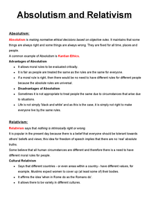 Preview of Moral Absolutism and Relativism Revision/Notes 2
